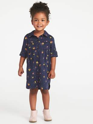 Old Navy Printed Twill Shirt Dress for Toddler Girls