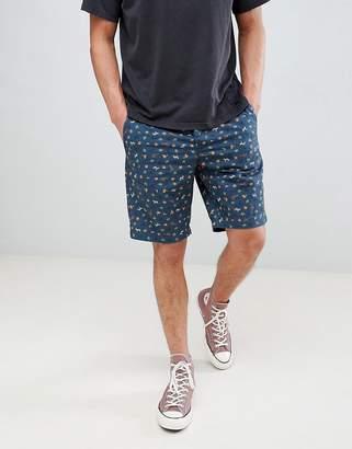 Benetton Slim Chino Shorts With Palm Tree Print