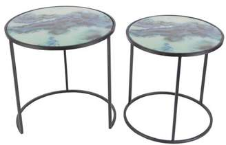 DecMode Decmode Set of 2 Contemporary Round Metal and Glass Accent Tables, Black