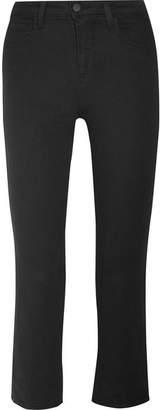 L'Agence Serena Cropped Mid-rise Bootcut Jeans - Black