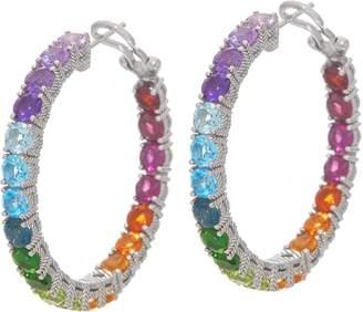 Judith Ripka Sterling Silver Rainbow Gem Hoop Earrings, 11.00cttw