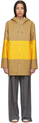 Stutterheim Tan and Yellow Large Stripe Stockholm Raincoat