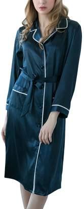 Dolamen Women s Nightshirt Dressing Gown Satin 2018 Silky Pyjamas Nightwear  Nighties Sleepwear f6f85e71b