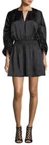 Rissa Drawstring-Sleeve Silk Satin Short Dress