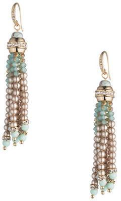 CaroleeCarolee Turquoise Sands Faux Pearl Beaded Tassel Drop Earrings