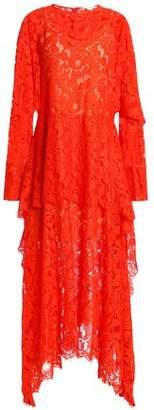 Stella McCartney Asymmetric Layered Lace Midi Dress
