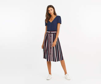 Oasis MULTI STRIPE BUTTON SKIRT