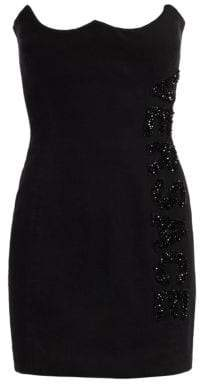 Versace Embellished Logo Mini Denim Bodycon Dress