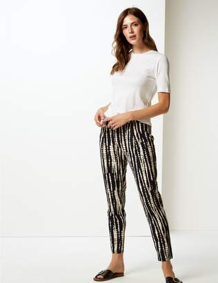 Marks and Spencer Printed Jersey Tapered Leg Peg Trousers