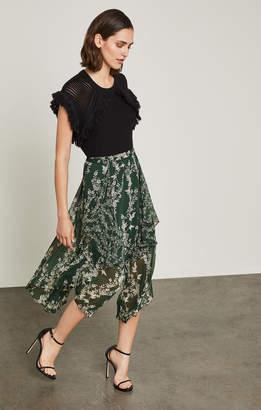 BCBGMAXAZRIA Floral Blooms Asymmetrical Skirt