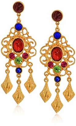 Crystal Pearl Ben-Amun Jewelry Victoria Multicolor Lattice Drop Post Earrings
