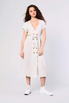 Glamorous Womens **Striped Button Front Dress