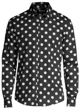 Versace Polka-Dot Logo Button-Down Shirt