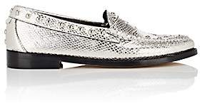 Re/Done + Weejuns Women's Whitney Stamped-Leather Penny Loafers-Silver