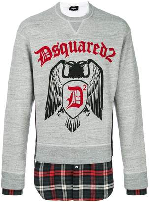 DSQUARED2 shirt hem logo sweatshirt