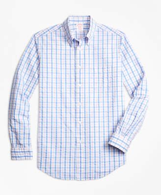 Brooks Brothers Madison Fit Light-Blue Check Seersucker Sport Shirt