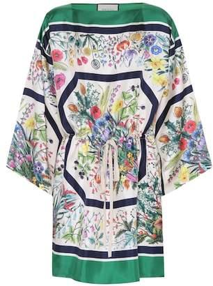 Gucci Floral-printed silk twill kaftan