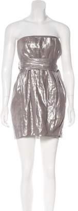 Foley + Corinna Metallic Strapless Dress Silver Metallic Strapless Dress