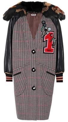 Miu Miu Fur-trimmed wool coat