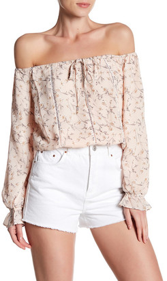 Lucca Couture Front Tie Floral Off-the-Shoulder Blouse $69 thestylecure.com