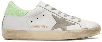Golden Goose SSENSE Exclusive White & Green Superstar Sneakers $495 thestylecure.com