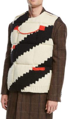 Calvin Klein Men's Stripe Intarsia Down Padded Vest
