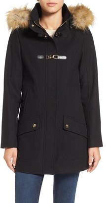 Women's Cece 'Ella' Faux Fur Trim Wool Blend Duffle Coat $198 thestylecure.com