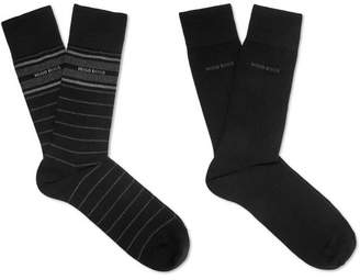 HUGO BOSS Two-Pack Stretch Cotton-Blend Socks