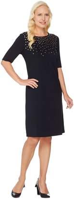 C. Wonder Ponte Knit Dress with Jeweled Neckline