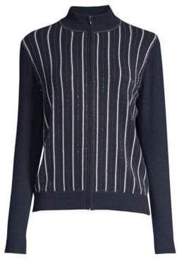 TSE x SFA Cashmere Chain Stripe Bomber Jacket