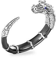 John Hardy Legends Naga Silver, Blue Sapphire, Hematite & White Mother-of-Pearl Dragon Cuff Bracelet