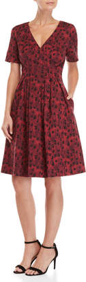 Carolina Herrera Leopard Print Surplice Fit & Flare Dress
