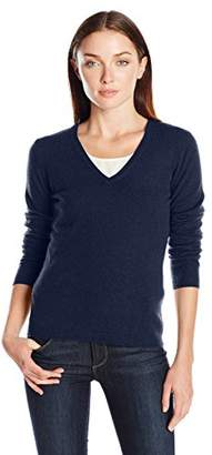 Lark & Ro Women's 100% Cashmere 2 Ply Slim Fit Basic V-Neck Sweater