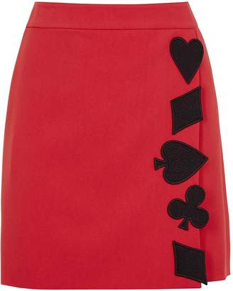 Moschino Red Appliqued Mini Skirt