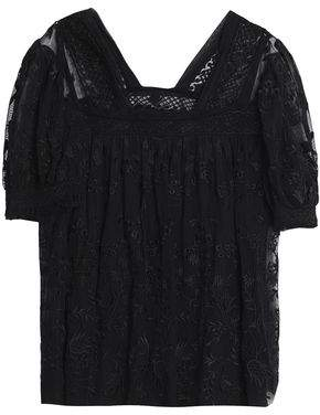 Needle & Thread Embroidered Tulle Blouse