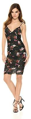 Velvet Rope Women's Spaghetti Strap Printed Floral Mesh V-Neck Midi Dress
