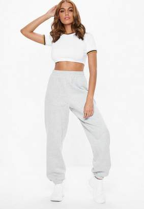 Missguided Petite White Contrast Ringer Crop Tee