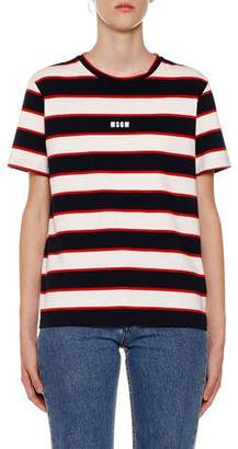 MSGM Horizontal Striped Crewneck Short-Sleeve Cotton T-Shirt