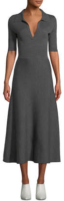 Gabriela Hearst Elbow-Sleeve V-Neck A-Line Mid-Calf Wool-Cashmere Dress