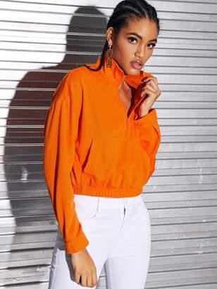 Shein Neon Orange Zipper Front Patch Pocket Sweatshirt