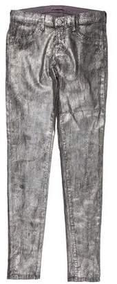 J Brand Distressed Metallic Mid-Rise Skinny Jeans