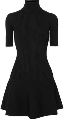 MICHAEL Michael Kors Ribbed Stretch-knit Turtleneck Mini Dress - Black