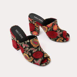 Public Desire Sian Embroidered Block Heel Mules colour
