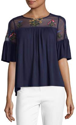 Liz Claiborne 3/4 Sleeve Round Neck Jersey Embroidered Blouse