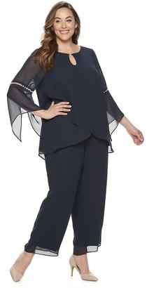 Le Bos Plus Size Two Piece Keyhole Top & Dress Pants Set