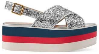 Gucci Glitter crossover platform sandal