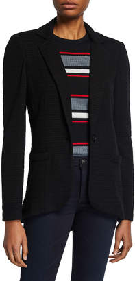 Neiman Marcus Ottoman Knit High-Low Jacket