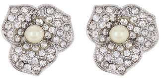 Carolee Crystal & Imitation Pearl Flower Stud Earrings