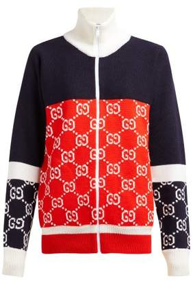 ef1d0378ae2c COM · Gucci Gg Logo Zip Through Wool Sweater - Womens - Navy Multi