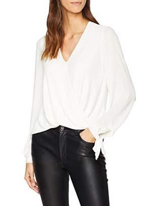 Karen Millen Women's Draped Wrap Shirt Long Sleeve Top, White (Ivory), 8 (Size:UK 8)